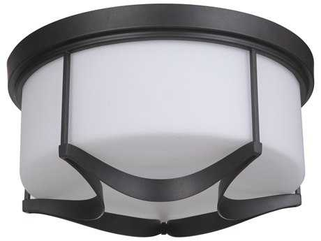 Craftmade Jeremiah Sydney Three-Light Flushmount Light in Espresso with White Glass