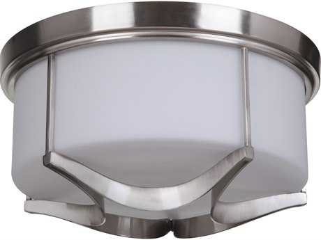 Craftmade Jeremiah Sydney Three-Light Flushmount Light in Satin Nickel with White Glass