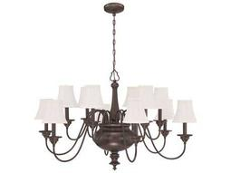 Craftmade Jeremiah Beaumont 12-Light Chandelier in Legacy Brass with Silk Fabric