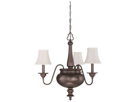 Craftmade Jeremiah Beaumont Three-Light Chandelier in Legacy Brass with Silk Fabric