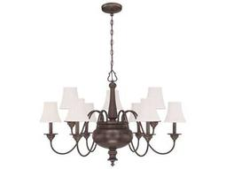 Craftmade Jeremiah Beaumont Nine-Light Chandelier in Legacy Brass with Silk Fabric