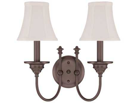 Craftmade Jeremiah Beaumont Two-Light Wall Sconce in Legacy Brass with Silk Fabric