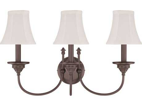 Craftmade Jeremiah Beaumont Three-Light Wall Sconce in Legacy Brass with Silk Fabric