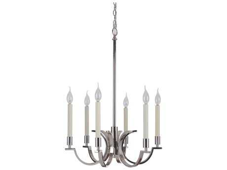 Craftmade Jeremiah Crescent Polished Nickel Six-Light 21.06'' Wide Chandelier