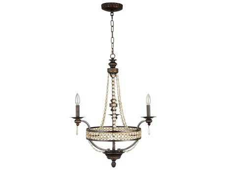 Craftmade Jeremiah Cortana Three-Light Chandelier in Peruvian Bronze with Antique Crystal Trim