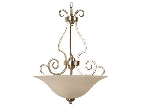 Craftmade Jeremiah Cecilia Three-Light Inverted Pendant in Brushed Satin Nickel with Alabaster Glass