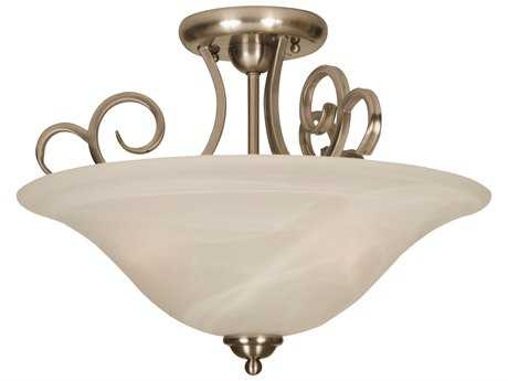 Craftmade Jeremiah Cecilia Three-Light Semi Flush in Brushed Satin Nickel with Alabaster Glass