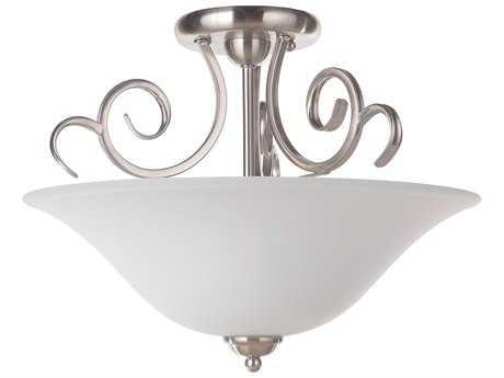 Craftmade Jeremiah Cecilia Brushed Satin Nickel Three-Light 18'' Wide Semi-Flush Mount Ceiling Light