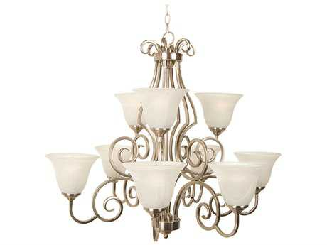 Craftmade Jeremiah Cecilia Nine-Light Chandelier in Brushed Satin Nickel with Alabaster Glass
