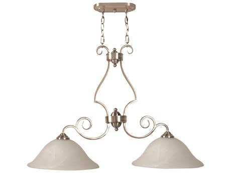 Craftmade Jeremiah Cecilia Two-Light Island Light in Brushed Satin Nickel with Alabaster Glass