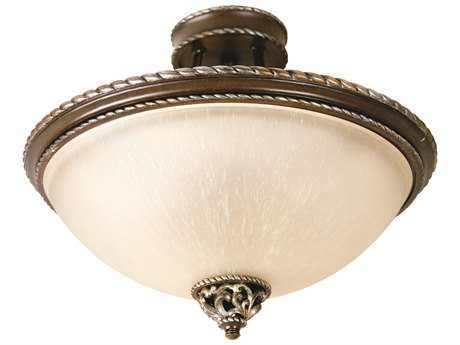 Craftmade Jeremiah Mia Three-Light Semi Flush in Aged Bronze/Vintage Madera with Tea-Stained Glass