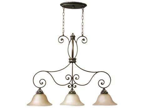 Craftmade Jeremiah Mia Three-Light Island Light in Aged Bronze/Vintage Madera with Tea-Stained Glass