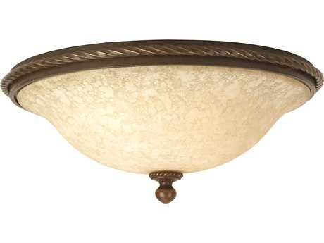 Craftmade Jeremiah Riata Three-Light Flushmount in Aged Bronze Textured with Antique Scavo Glass