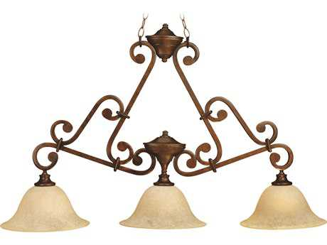 Craftmade Jeremiah Toscana Three-Light Island Light in Peruvian Bronze with Antique Scavo Glass