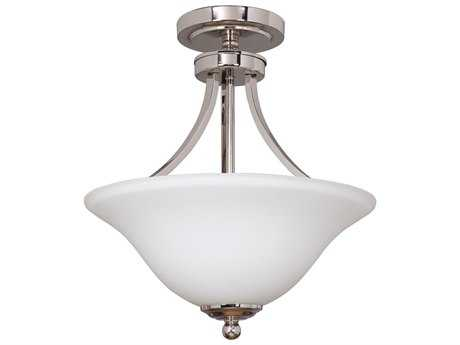 Craftmade Jeremiah Portia Two-Light Convertible Semi Flush in Polished Nickel with Frosted White Glass