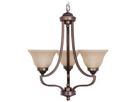 Craftmade Jeremiah Portia Three-Light Chandelier in Metropolitan Bronze with Amber Frost Glass