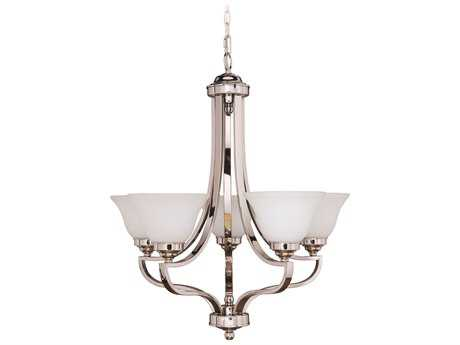 Craftmade Jeremiah Portia Five-Light Chandelier in Polished Nickel with Frosted White Glass