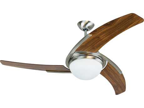 Craftmade Juna Stainless Steel Two-Light 54 Inch Wide Ceiling Fan with White Blades