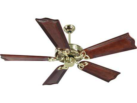 Craftmade CXL Polished Brass 56 Inch Wide Ceiling Fan with Custom Carved Blades in Wellington Mahogany