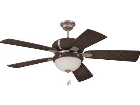 Craftmade La Playa Stainless Steel & Dark Wicker Three-Light 52 Inch Wide Ceiling Fan with Dark Wicker Blades