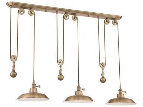 Craftmade Jeremiah Three-Light Pully Island Light in Legacy Brass with Legacy Brass Shade
