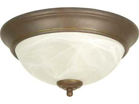Craftmade Jeremiah Two-Light Flushmount in Aged Bronze with Alabaster Swirl Glass