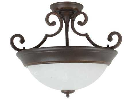 Craftmade Jeremiah Two-Light Semi Flush in Aged Bronze with Alabaster Swirl Glass