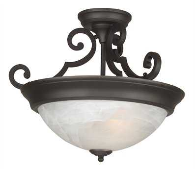 Craftmade Jeremiah Three-Light Semi Flush in Oiled Bronze with Alabaster Swirl Glass