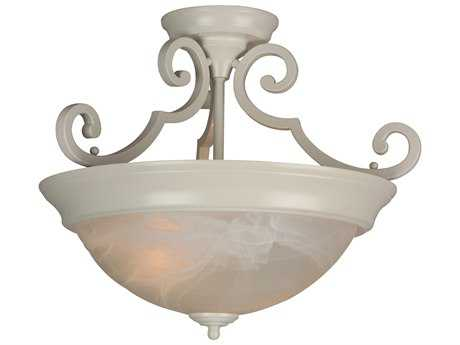 Craftmade Jeremiah Two-Light Semi Flush in White with Alabaster Swirl Glass