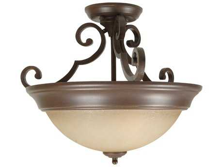 Craftmade Jeremiah Two-Light Semi Flush in Aged Bronze Textured with Tea-Stained Glass