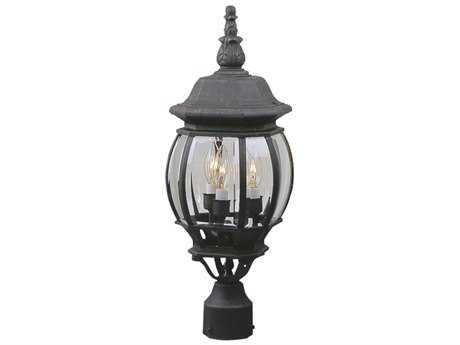 Craftmade Exteriors French Style Matte Black Three-Light 8'' Wide Outdoor Post Light