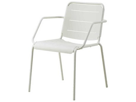 Cane Line Outdoor Copenhagen White Aluminum Metal Dining Chair (Sold in 2)
