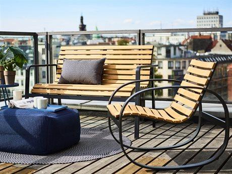 Cane Line Outdoor Parc Aluminum Cushion Teak Lounge Set PatioLiving