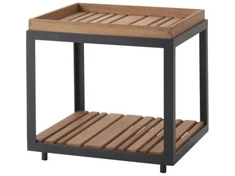 Cane Line Outdoor Level Lava Grey / Teak 18'' Wide Aluminum Square End Table PatioLiving
