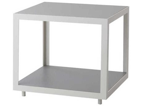Cane Line Outdoor Level White / Light Grey 18'' Wide Aluminum Square End Table PatioLiving