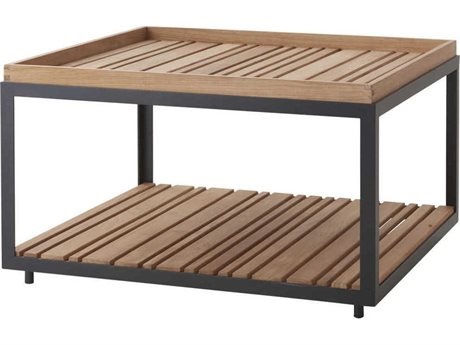 Cane Line Outdoor Level Lava Grey / Teak 31'' Wide Aluminum Square Coffee Table PatioLiving