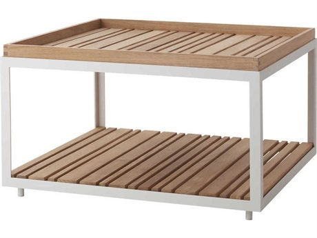 Cane Line Outdoor Level White / Teak 31'' Wide Aluminum Square Coffee Table PatioLiving