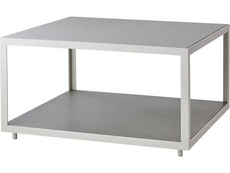 Cane Line Outdoor Level White / Light Grey 31'' Wide Aluminum Square Coffee Table PatioLiving