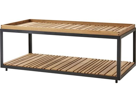 Cane Line Outdoor Level Lava Grey / Teak 48'' Wide Aluminum Rectangular Coffee Table PatioLiving