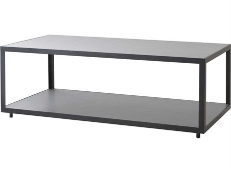 Cane Line Outdoor Level Lava Grey / Light 48'' Wide Aluminum Rectangular Coffee Table PatioLiving