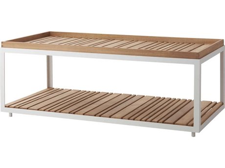 Cane Line Outdoor Level White / Teak 48'' Wide Aluminum Rectangular Coffee Table PatioLiving