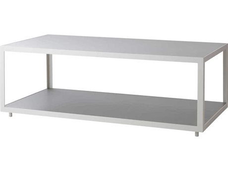 Cane Line Outdoor Level White / Light Grey 48'' Wide Aluminum Rectangular Coffee Table PatioLiving