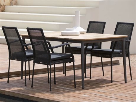 Cane Line Outdoor Core Aluminum Teak Wicker Dining Set PatioLiving