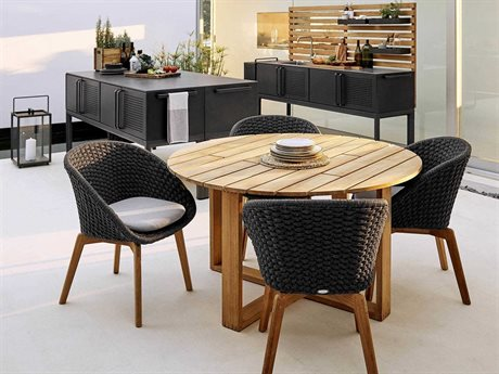 Cane Line Outdoor Endless Teak Wicker Dining Set PatioLiving