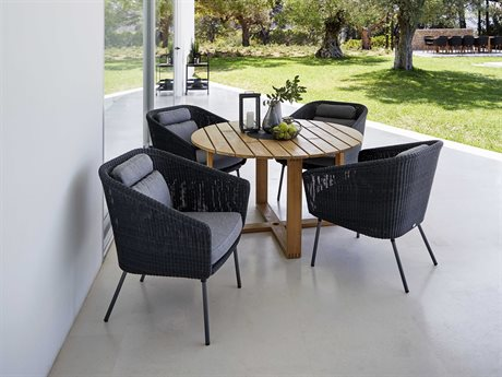 Cane Line Outdoor Endless Aluminum Teak Wicker Dining Set