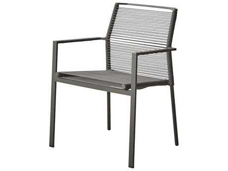 Cane Line Outdoor Edge Anthracite Aluminum Strap Dining Chair PatioLiving