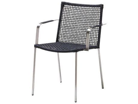 Cane Line Outdoor Straw Anthracite Aluminum Strap Dining Chair
