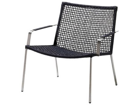 Cane Line Outdoor Straw Anthracite Aluminum Strap Lounge Chair