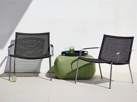 Cane Line Outdoor Straw Aluminum Strap Lounge Set