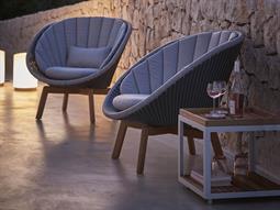 Peacock Teak Wicker Cushion Lounge Set